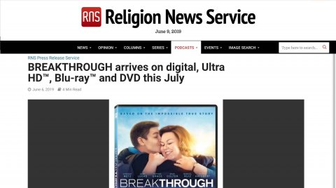 Religion News Services Mentions Breakthrough Upcoming Digital Release