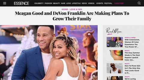 ESSENCE: Meagan and DeVon Announce Family Plans