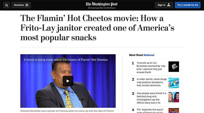 Flamin' Hot Cheetos on The Washington Post