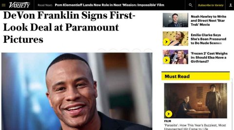 DeVon Franklin signs first look deal with Paramount – Variety