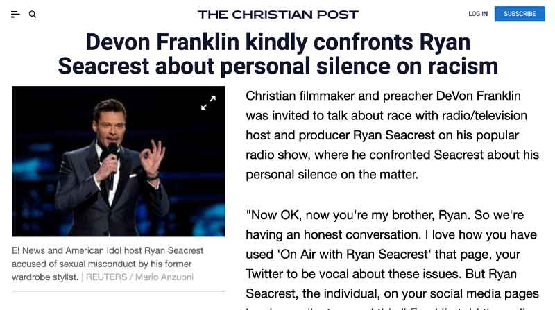 Devon Franklin Kindly Confronts Ryan Seacrest About Personal Silence on Racism