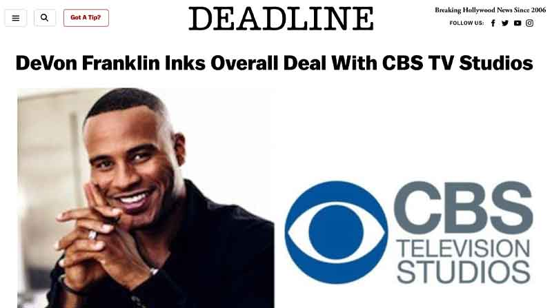 DeVon Franklin Inks Overall Deal with CBS TV Studios