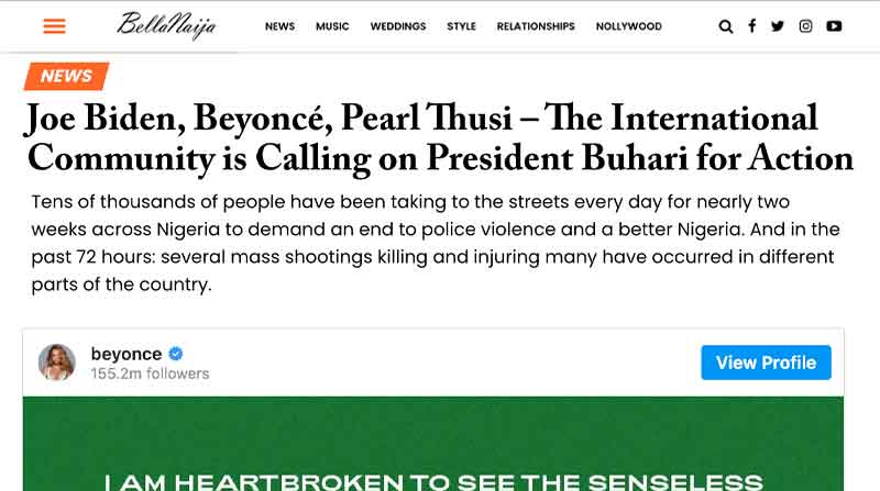Joe Biden, Beyoncé, Pearl Thusi – The International Community is Calling on President Buhari for Action