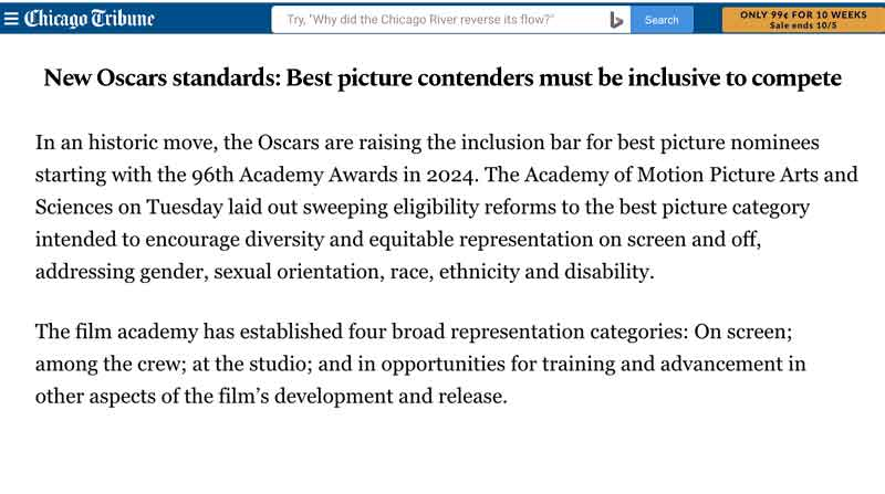 New Oscars standards: Best picture contenders must be inclusive to compete