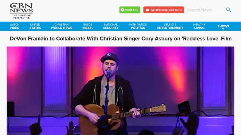 DeVon Franklin to Collaborate With Christian Singer Cory Asbury on 'Reckless Love' Film
