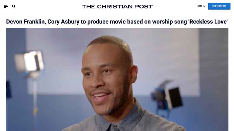 Devon Franklin, Cory Asbury to produce movie based on worship song 'Reckless Love'